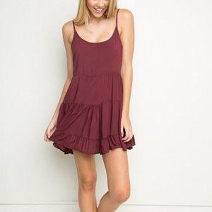 Brandy Melville Jada Dress Burgundy